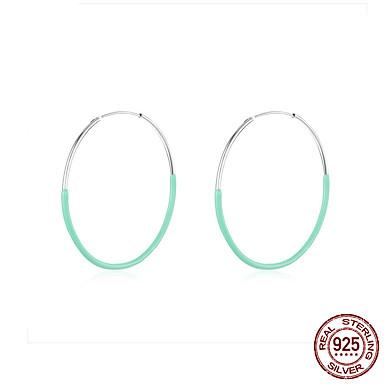 رخيصةأون أقراط-كبير جولة دائرة هوب أقراط للنساء 925 فضة الأزرق المينا الأذن الأطواق الإناث الأزياء بيجو 50 ملليمتر bse34141