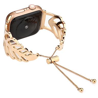 voordelige Apple Watch-bandjes-blad armband voor Apple Watch serie 4 3 2 1 38 / 40mm 42 / 44mm roestvrij stalen band polshorloge riem