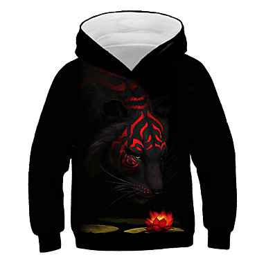 cheap Boys' 3D Clothing-Kids Boys' Active Street chic Tiger Lion Print 3D Animal Print Long Sleeve Hoodie & Sweatshirt Black