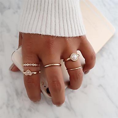 رخيصةأون خواتم-نسائي مجموعة الطوق خاتم بأصابيع متعددة 5pcs ذهبي سبيكة بسيط أوروبي شائع مناسب للحفلات مناسب للبس اليومي مجوهرات قلب