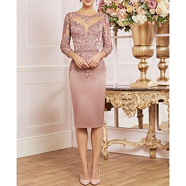 cheap Mother of the Bride Dresses-Sheath / Column Bateau Neck Knee Length Lace / Satin 3/4 Length Sleeve Plus Size / Elegant Mother of the Bride Dress with Ruffles 2020