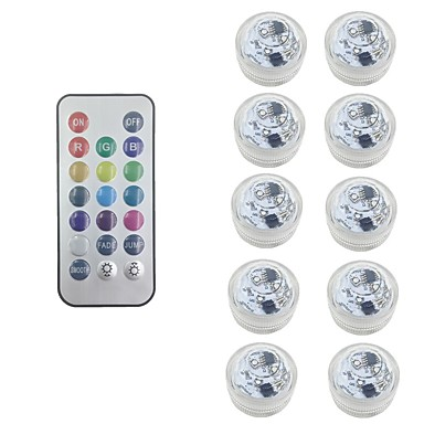 cheap Outdoor Lights-10X RGB LED Submersible Light Bulb Button Battery Round Candle  Underwater Lamp With Free Remote Control IP68 Waterproof Dimmable Lamp For Pond Swimming Pool Decoration Lighting (come with battery)