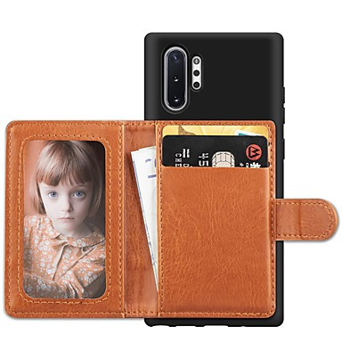 voordelige Galaxy Note-serie hoesjes / covers-hoesje voor Samsung Galaxy Note 9 / Note 8 / Galaxy Note 10 Portemonnee / kaarthouder / schokbestendige achterkant Effen textiel voor Samsung Galaxy Note 10 / Galaxy Note 10 plus