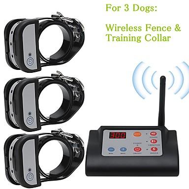 olcso Kutyák-2 az 1-ben vezeték nélküli elektromos kutyakerítés& kiképző nyakörv kutya kiképző nyakörvek vízálló újratölthető kisállattartó rendszer három kutya számára