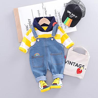 voordelige Baby Jongens kledingsets-Baby Jongens Actief / Standaard Gestreept Veters Lange mouw Normaal Normaal Kledingset Geel