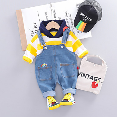 cheap Baby & Toddler Boy-Baby Boys' Active / Basic Striped Lace up Long Sleeve Regular Regular Clothing Set Yellow