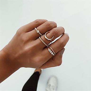 رخيصةأون خواتم-نسائي مجموعة الطوق خاتم بأصابيع متعددة 5pcs ذهبي سبيكة بسيط أوروبي موضة مناسب للحفلات مناسب للبس اليومي مجوهرات قديم MOON