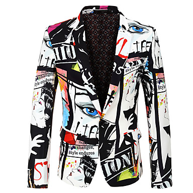 cheap Men's Blazers & Suits-Men's Party / Holiday / Bachelor's Party Regular 3D / Abstract Notch Lapel Full Body Polyester Print White