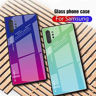 economico Custodie / cover per Galaxy serie Note-Custodia Per Samsung Galaxy Galaxy Note 10+ / Galaxy Note 10 Plus Ultra sottile Per retro Colore graduale e sfumato Vetro temperato