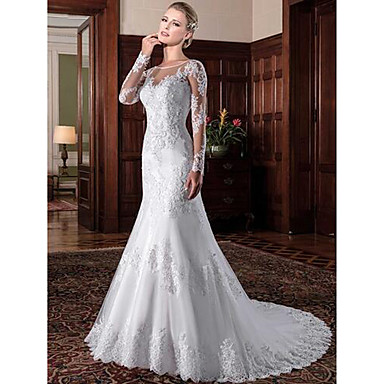 cheap Wedding Dresses-Mermaid / Trumpet Jewel Neck Chapel Train Lace / Tulle / Lace Over Satin Long Sleeve Formal See-Through / Sexy / Beautiful Back Made-To-Measure Wedding Dresses with Lace / Pearls 2020 / Bell Sleeve