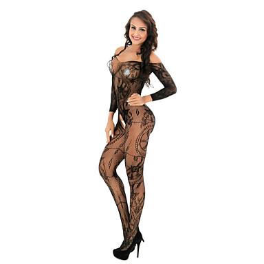 povoljno Novo u ponudi-Žene Čipka / Mrežica Bodysuits Noćno rublje Jednobojni / Cvjetni print Crn Obala Red One-Size