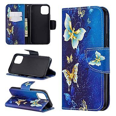 Недорогие Кейсы для iPhone 6 Plus-Кейс для Назначение Apple iPhone 11 / iPhone 11 Pro / iPhone 11 Pro Max Кошелек / Бумажник для карт / Флип Чехол Бабочка Кожа PU