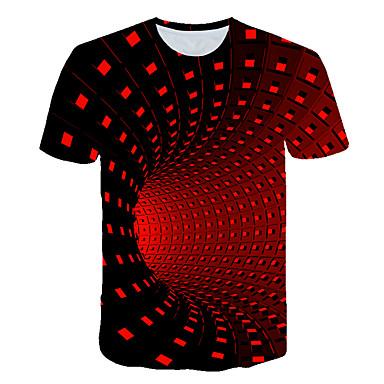 T-shirt Męskie Podstawowy / Moda miejska, Nadruk Geometric Shape / Kolorowy blok / 3D Czarny