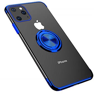 Недорогие Кейсы для iPhone-Кейс для Назначение Apple iPhone 11 / iPhone 11 Pro / iPhone 11 Pro Max Покрытие / Кольца-держатели Кейс на заднюю панель Однотонный ТПУ / Металл