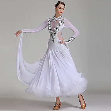 cheap Dancewear & Shoes-Ballroom Dance Dresses Women's Performance Spandex / Chiffon / Tulle Appliques / Split Joint / Crystals / Rhinestones Long Sleeve High Dress / Neckwear
