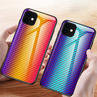 voordelige iPhone-hoesjes-koolstofvezel patroon gradiënt gehard glazen behuizing voor iPhone 11 pro max / iphone 11 pro / iphone 11 / xs max xr x 8 plus 8 7 plus 7 6 plus 6 telefoonhoesjes siliconen zachte tpu beschermende