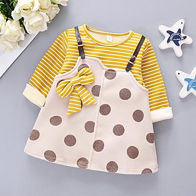 رخيصةأون ملابس الرضع-فستان كم طويل منقط / مخطط للفتيات طفل