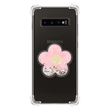 Недорогие Чехлы и кейсы для Galaxy S-Кейс для Назначение SSamsung Galaxy S9 / S9 Plus / Galaxy S10 Защита от удара / Движущаяся жидкость / Прозрачный Кейс на заднюю панель Сияние и блеск ТПУ