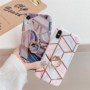 voordelige iPhone-hoesjes-hoesje Voor Apple iPhone 11 / iPhone 11 Pro / iPhone 11 Pro Max Ringhouder / Patroon Achterkant Geometrisch patroon / Marmer TPU