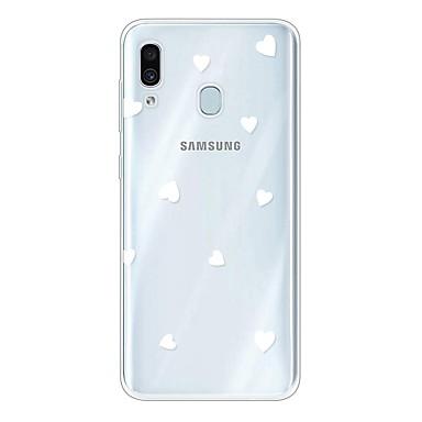 Недорогие Чехлы и кейсы для Galaxy А-Кейс для Назначение SSamsung Galaxy A6 (2018) / Galaxy A7(2018) / Galaxy A10 (2019) Ультратонкий / Прозрачный / С узором Кейс на заднюю панель С сердцем ТПУ