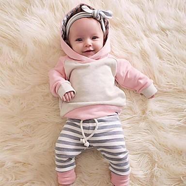 Χαμηλού Κόστους Μωρουδιακά Ρούχα-Μωρό Κοριτσίστικα Καθημερινό / Ενεργό Συνδυασμός Χρωμάτων / Patchwork Patchwork Μακρυμάνικο Κανονικό Σετ Ρούχων Ανθισμένο Ροζ