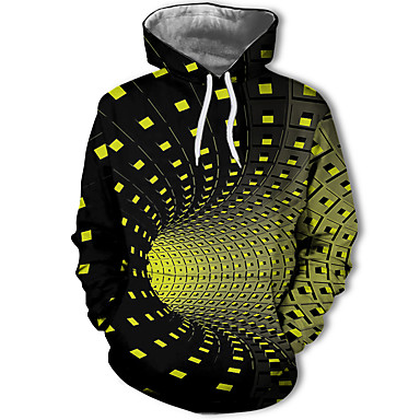 povoljno Muške majice s kapuljačom i trenirke-Muškarci Ležerne prilike / Ulični šik Hoodie Geometrijski oblici / Color block / 3D