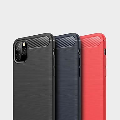 Недорогие Кейсы для iPhone-Кейс для Назначение Apple iPhone 11 / iPhone 11 Pro / iPhone 11 Pro Max Защита от удара / Ультратонкий Кейс на заднюю панель Однотонный Углеродное волокно