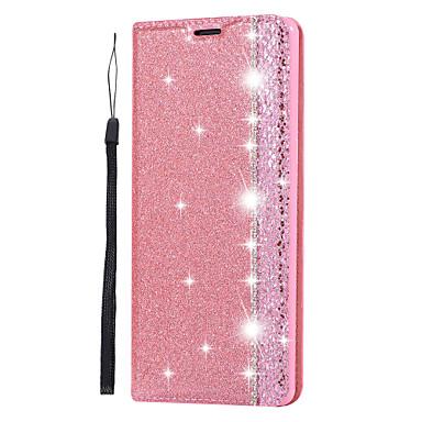 Недорогие Чехлы и кейсы для Galaxy Note-чехол для samsung galaxy s9 / s9 plus / s8 plus держатель карты / магнитный / блестящий блеск для всего тела сплошной цвет / блестящий блеск искусственная кожа / тпу