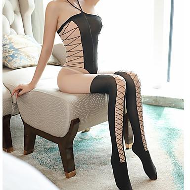 povoljno Novo u ponudi-Žene Mrežica / Ukriženo Bodysuits Noćno rublje Jednobojni Crn One-Size