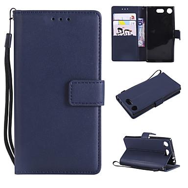 Недорогие Чехлы и кейсы для Sony-Кейс для Назначение Sony Sony Xperia Z3 / Sony Xperia Z3 Mini / Sony Xperia Z4 Кошелек / Бумажник для карт / Флип Чехол Однотонный Кожа PU / ТПУ