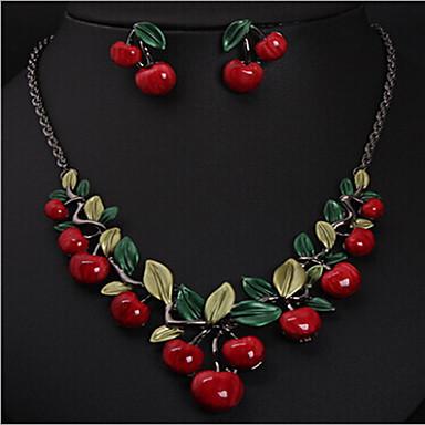 povoljno Komplet nakita-Žene Smola Ogrlica Geometrijski Višnja Stilski Naušnice Jewelry Zlato Za Party 1set