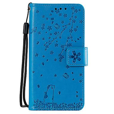 Недорогие Чехлы и кейсы для Sony-Кейс для Назначение Sony Sony Xperia Z5 / Sony Xperia XZ1 / Xperia XA2 Кошелек / Бумажник для карт / со стендом Чехол Кот / дерево Кожа PU