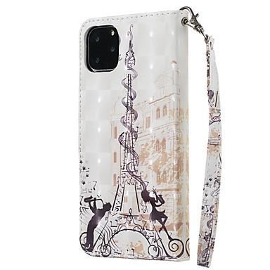 voordelige iPhone-hoesjes-hoesje Voor Apple iPhone 11 / iPhone 11 Pro / iPhone 11 Pro Max Portemonnee / Kaarthouder / met standaard Volledig hoesje Eiffeltoren PU-nahka