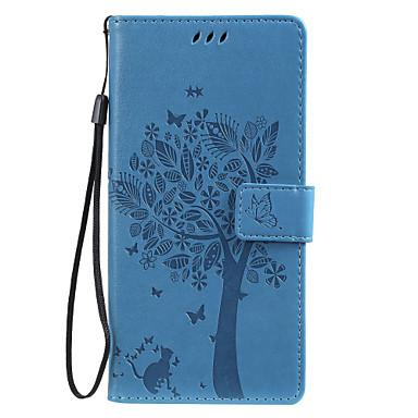 Недорогие Чехлы и кейсы для Galaxy J-чехол для Samsung Galaxy Note 10 Galaxy Note 10 плюс телефон чехол искусственная кожа материал тиснением кошка и дерево шаблон сплошной цвет чехол для телефона
