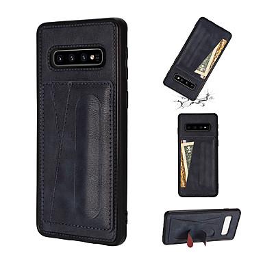 voordelige Galaxy S-serie hoesjes / covers-hoesje Voor Samsung Galaxy S9 / S9 Plus / S8 Plus Schokbestendig / met standaard Achterkant Effen PU-nahka