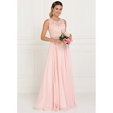 cheap Bridesmaid Dresses-A-Line Jewel Neck Sweep / Brush Train Tulle Bridesmaid Dress with Lace / Sash / Ribbon