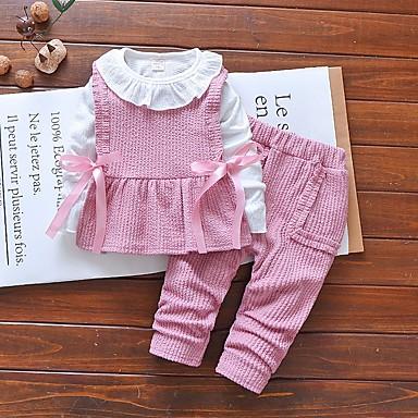 رخيصةأون ملابس الرضع-مجموعة ملابس كم طويل ألوان متناوبة للفتيات طفل