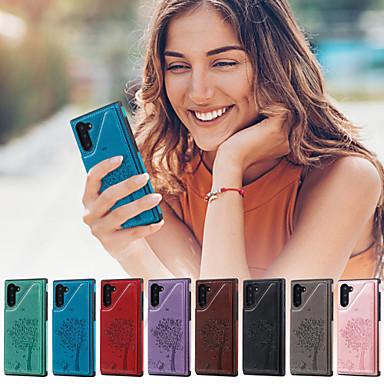 Недорогие Чехлы и кейсы для Galaxy Note-Кейс для Назначение SSamsung Galaxy Note 9 / Note 8 / Galaxy Note 10 Кошелек / Бумажник для карт / со стендом Кейс на заднюю панель дерево Кожа PU