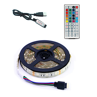 cheap Flexible LED Light Strips-5m Flexible LED Light Strips / RGB Strip Lights / Remote Controls 300 LEDs SMD5050 1 44Keys Remote Controller Multi Color USB / Party / Decorative 5 V 1 set / Self-adhesive