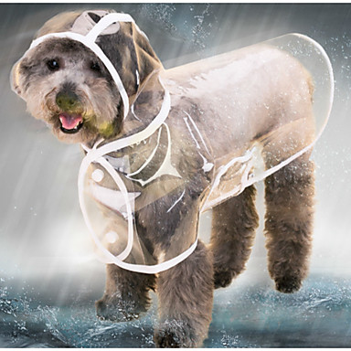 رخيصةأون ملابس وإكسسوارات الكلاب-قط كلب معطف المطر سترة معطف واق من المطر الشتاء ملابس الكلاب أسود أبيض أرجواني كوستيوم طفل كلب صغير هاسكي لابرادور Malamute ألاسكا بلاستيك لون سادة شفاف مقاومة الماء كوول XS S M L XL XXL
