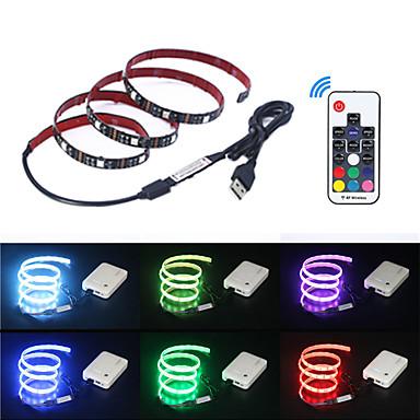 رخيصةأون شرائط ضوء مرنة LED-5m شرائط قابلة للانثناء لأضواء LED / أضواء RGB بشكل شريط / وحدة التحكم عن بعد 150 المصابيح SMD5050 17-مفتاح تحكم عن بعد لون متعدد يو اس بي / حزب / ديكور 5 V 1SET / اللصق التلقي