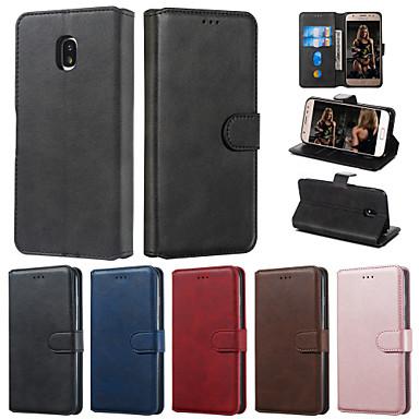 voordelige Galaxy J-serie hoesjes / covers-case voor samsung galaxy j4 2018 j6 2018 telefoon case pu leer materiaal effen kleur patroon telefoon case voor galaxy j7 2017 j5 2017 j3 2017 j710 j510 j310 j4 plus 2018 j6 plus 2018