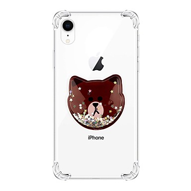お買い得  iPhone 用ケース-ケース 用途 Apple iPhone XS / iPhone XR / iPhone XS Max 耐衝撃 / リキッド / クリア バックカバー 動物 / キラキラ仕上げ TPU