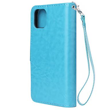 Недорогие Кейсы для iPhone-Кейс для Назначение Apple iPhone 11 / iPhone 11 Pro / iPhone 11 Pro Max Кошелек / Бумажник для карт / Ультратонкий Кейс на заднюю панель Однотонный Кожа PU / ТПУ
