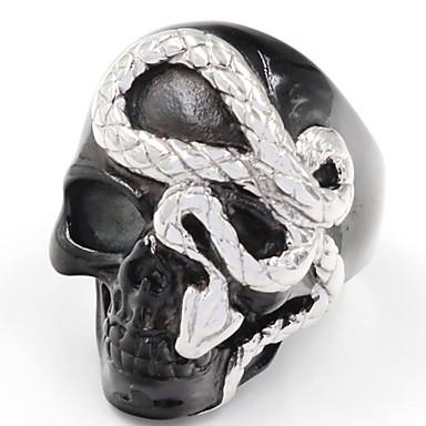 رخيصةأون خواتم-رجالي خاتم 1PC أسود سبيكة غير منتظم عتيق بانغك شائع مناسب للبس اليومي مجوهرات فينتاج ثعبان جمجمة