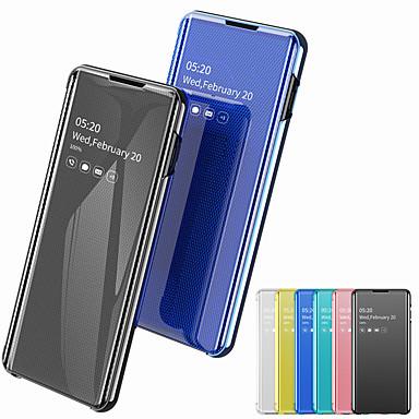 voordelige Galaxy S-serie hoesjes / covers-case voor samsung galaxy s10 s10e s10plus plating spiegel flip full body gevallen effen pu lederen pc s9 s9 plus s8 s8 plus s7 s7 edge