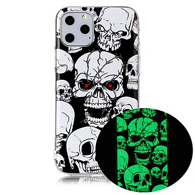 voordelige iPhone-hoesjes-hoesje Voor Apple iPhone 11 / iPhone 11 Pro / iPhone 11 Pro Max Glow in the dark / Ultradun / Patroon Achterkant Doodskoppen TPU