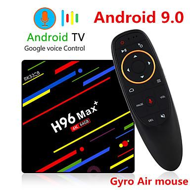 olcso Televízió dobozok-h96 max plusz hangvezérlés intelligens tv box android 9.0 rk3328 4k médialejátszó quadcore 4 GB RAM 64 GB rom android 8.1 rockchip set top box 2.4g / 5g wifi h.265 h96max + tvbox usb3.0 bt