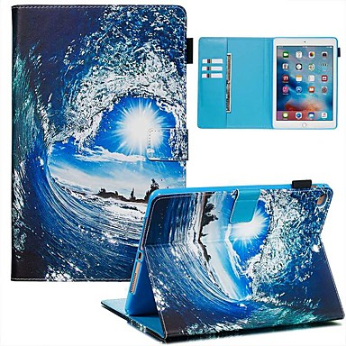 Недорогие Аксессуары для iPad-Кейс для Назначение Apple iPad Air / iPad (2018) / iPad Air 2 Кошелек / Бумажник для карт / С узором Чехол Пейзаж Кожа PU / ТПУ