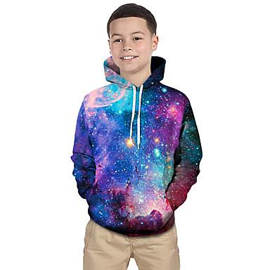 cheap Boys' 3D Clothing-Kids Toddler Boys' Active Basic Fantastic Beasts Geometric Galaxy Print Print Long Sleeve Hoodie & Sweatshirt Purple